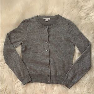 New York and Company silver glitter cardigan